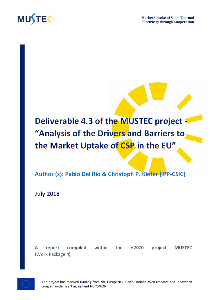 Analysis of the Drivers and Barriers to the Market Uptake of CSP in the EU